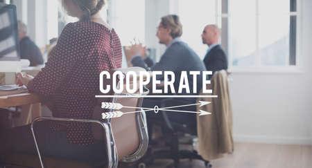 cooperate: Cooperate Participate Partnership Teamwork Concept