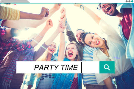 Party Time Beach Enjoyment Summer Holiday Concept Imagens