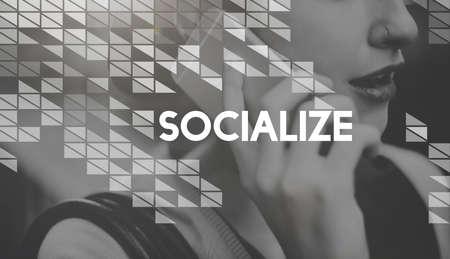 socialize: Socialize Media Communication Connection Globalization Concept