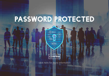 password protection: Password Protected Network Security Protection Concept