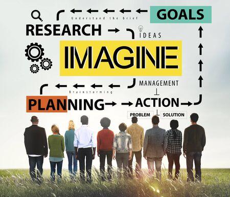 visualise: Imagine Imagination Research Goals Planning Concept Stock Photo