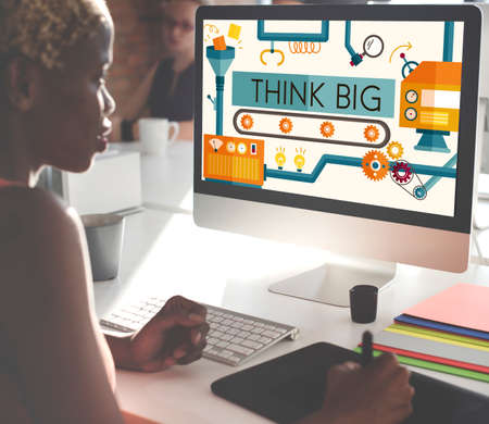 african woman at work: Think Big Analysis Attitude Planning Success Concept