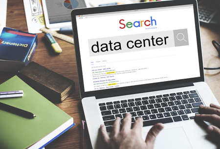 Online search for data center concept on a laptop