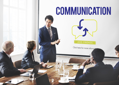 Online communication concept in a board meeting Stock Photo