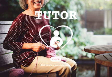 the elderly tutor: Tutor Educator Teacher Care School Concept