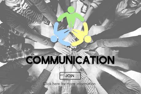comunicar: Comunicaci�n Comunicar Concepto de conversaci�n de Connection Foto de archivo