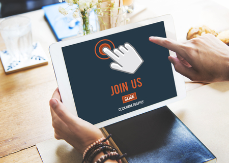 Join Us Recruitment Application Follow Website Online Concept Banco de Imagens