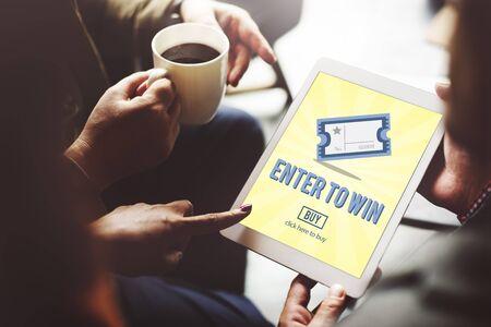lotto: Gambling Jackpot Luck Enter to Win Lotto Ticket Concept Stock Photo