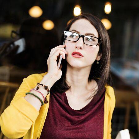 chill: Beautiful Communication Leisure Lady Girl Chill Concept