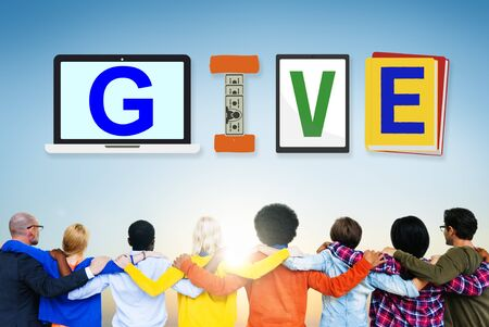Donations: Give Donations Aid Charity Design Word Concept Stock Photo
