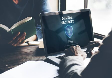 digital security: Digital Security Privacy Online Security Protection Concept Stock Photo