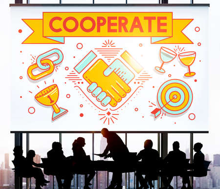 cooperate: Cooperate Together Team Teamwork Partnership Concept
