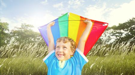enjoyment: Children Boy Playing Kite Enjoyment Concept