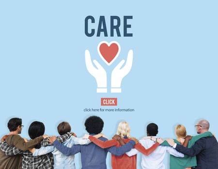 healthcare and medicine: Care Give Charity Share Donation Foundation Concept