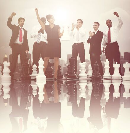 business game: Business People Celebration Winning Chess Game Concept