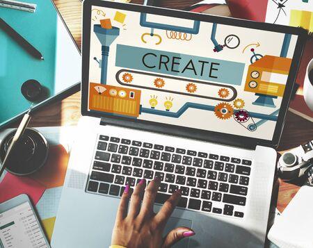 copy writing: Create Innovation Imagination Development Ideas Concept Stock Photo