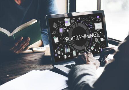 scheduling system: Programming Digital Computer Program Media Software Concept Stock Photo