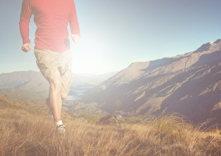 outdoor training: Man Jogging Mountains Exercise Wellbeing Concept