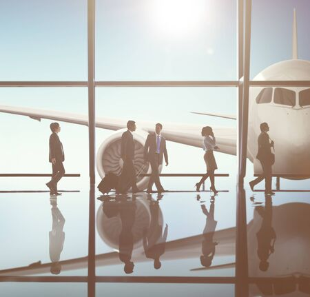 flight mode: Back lit Business People Working Corporate Concept Stock Photo