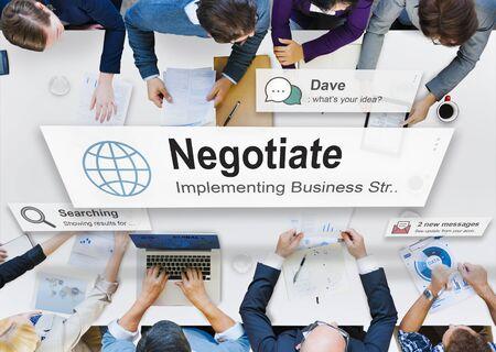negotiate: Negotiate Agreement Compromise Reconcile Concept