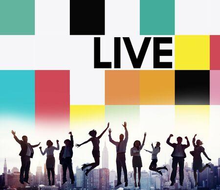 live work city: Live Lifestyle Life Alive Balance Concept Stock Photo