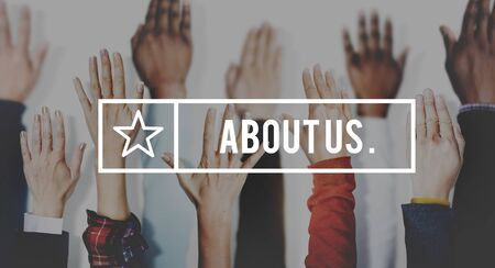 about us: About Us Service Contact Information Concept
