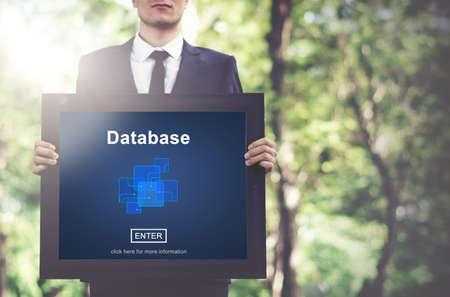 environmental suit: Database Network Technology Enter Concept Stock Photo