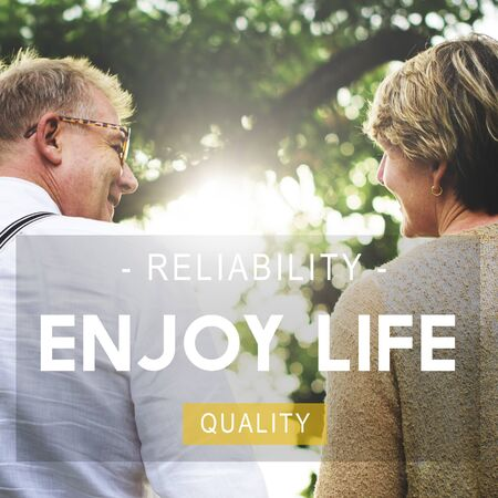 living moment: Enjoy Life Reliability Quality Peace Living Concept Stock Photo
