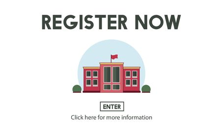 instructional: Register Now E-learning Education Website Concept Stock Photo