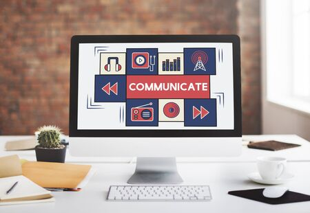 comunicar: Comunicar Broadcast Music Concept icono de conexi�n