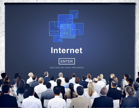 Browsing internet concept with audience Banco de Imagens