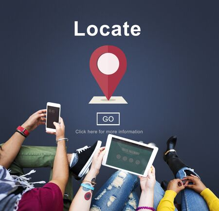 college campus: Locate Location Direction Navigation Position Trip Concept Stock Photo