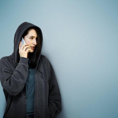 criminal: Behind Criminal Female Spying Undercover Staring Concept