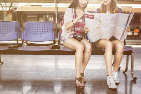 people travelling: Girls Friendship Hangout Traveling Holiday Map Concept Stock Photo