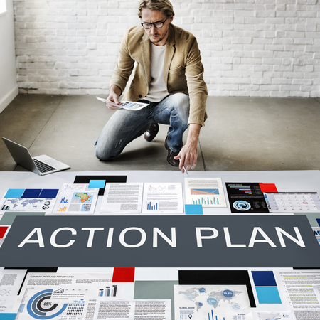action plan: Action Plan Process Strategy Vision Concept Stock Photo