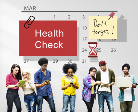 health check: Health Check Organize Schedule Planner Concept