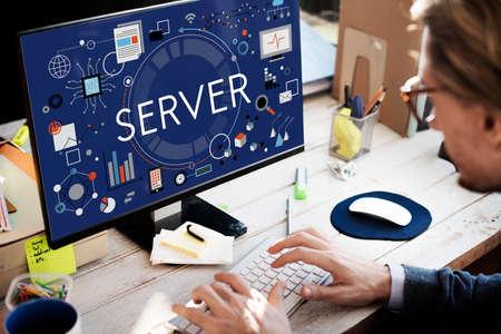computer program: Server Computer Program Data Connection Concept Stock Photo
