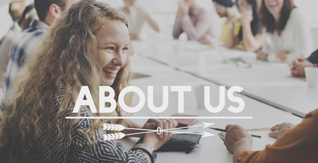 about us: About Us Profile Join Information Concept Stock Photo