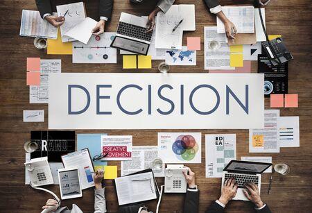 decide deciding: Document Marketing Strategy Business Concept Stock Photo