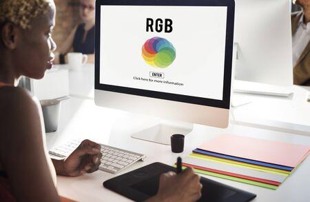 rgb: RGB Printing Palette Mixing Colour Concept Stock Photo