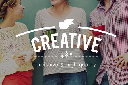 friends coffee: Creative Imagination Innovation Invention Modern Concept Stock Photo