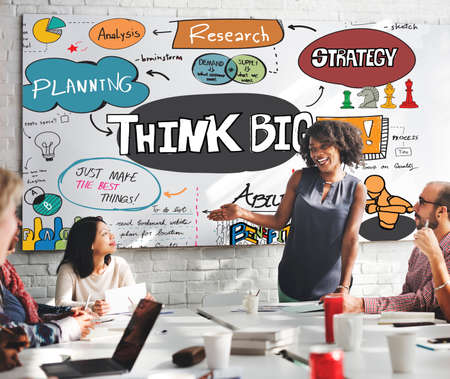 business conference: Think Big Optimism Positive Creative Intention Concept Stock Photo