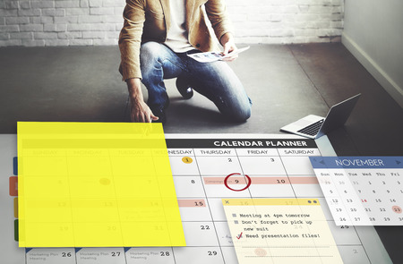 Calendar Planner Planning Organixer Note Concept Stock Photo