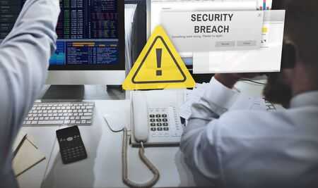 computer crime: Security Breach Cyber Attack Computer Crime Password Concept Stock Photo