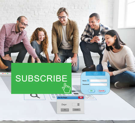 subscribing: Subscribe Member Register Social Media Feed Concept
