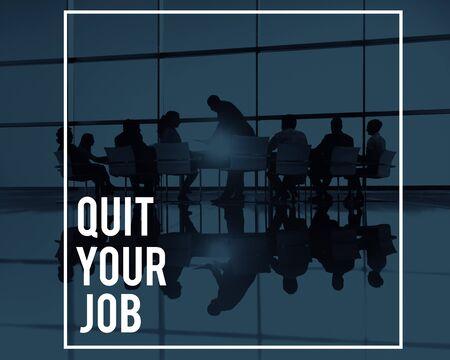 career plan: Quit Your Job Resign Career Plan Employment Concept Stock Photo