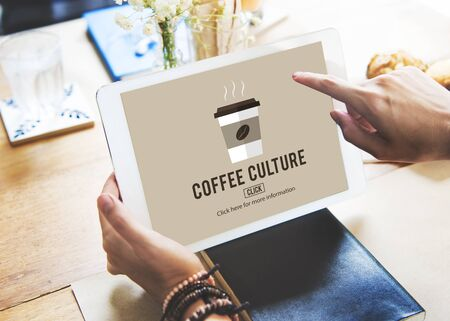 robusta: Cafe Coffee Culture Cappuccino Coffee Beans Concept Stock Photo