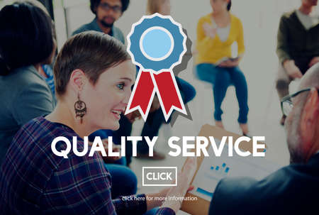 quality service: Quality Service Care Excellence Guarantee Rank Concept