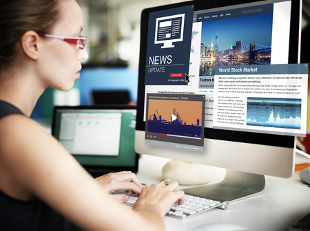 News Update Journalism Headline Media Concept Banco de Imagens - 57472420