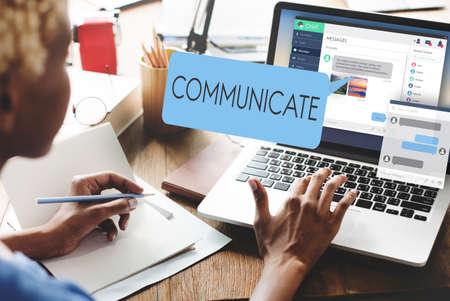 comunicar: Communicate Communication Conversation Concept Foto de archivo